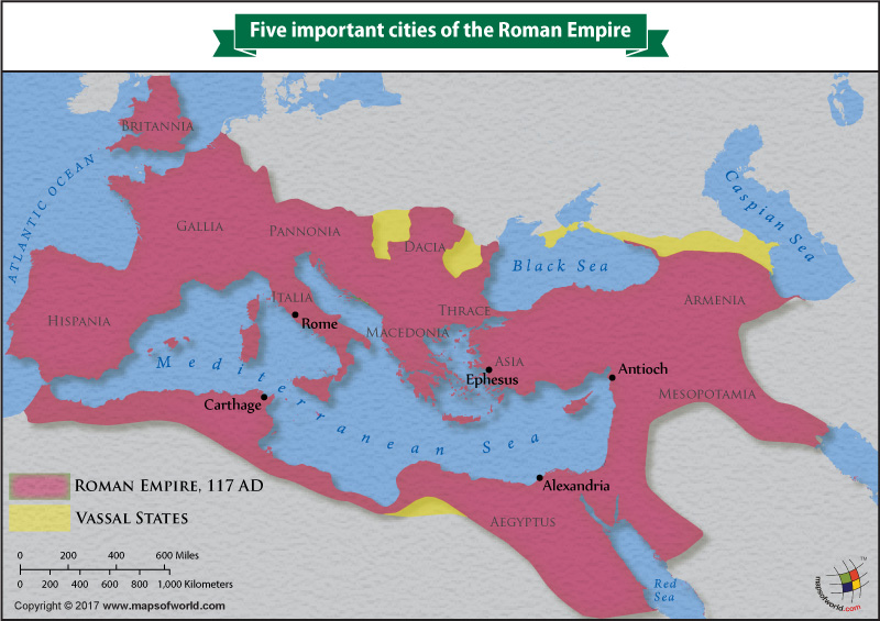 Map of Roman Empire highlighting five most important cities
