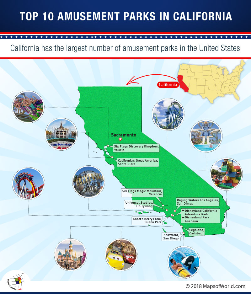 Map of Top 10 Amusement Parks in California   Answers