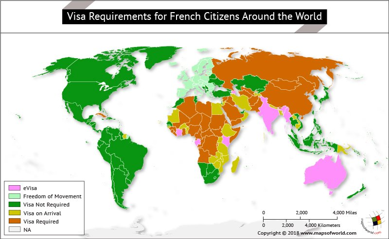 What are the visa requirements for french citizens answers world map highlighting countries on the basis of visa requirements for french citizens gumiabroncs Images
