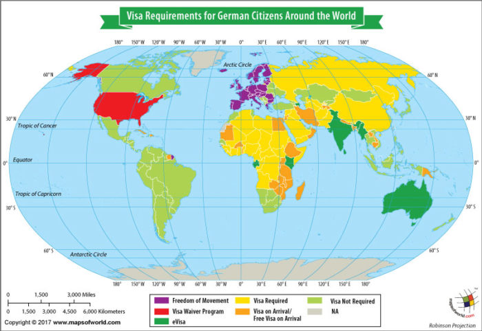 World Map highlighting countries on basis of visa requirement for German citizens