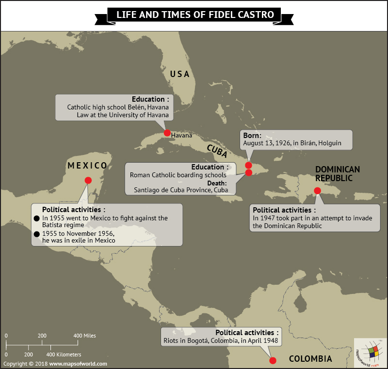 Cuba Map highlighting significant events from the life of Fidel Castro