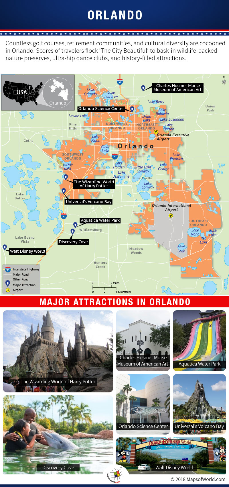 Infographic Depicting Orlando Tourist Attractions