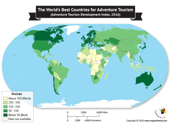 World Map depicting the best countries for adventure tourism