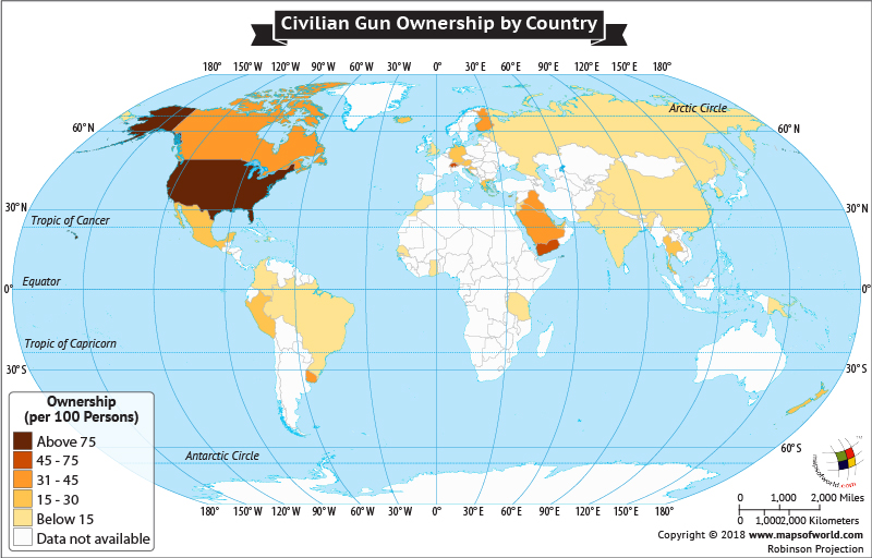 World Map depicting civilian Gun Ownership by country