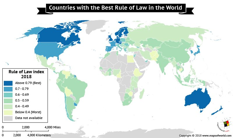 World Map depicting Rule of Law Index