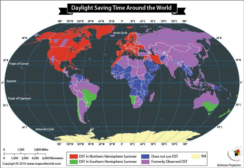 World map depicting daylight saving time by countries