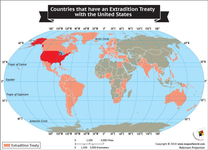 World Map Highlighting nations that have Extradition Treaty with USA