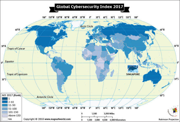 World Map depicting Global Cybersecurity Index