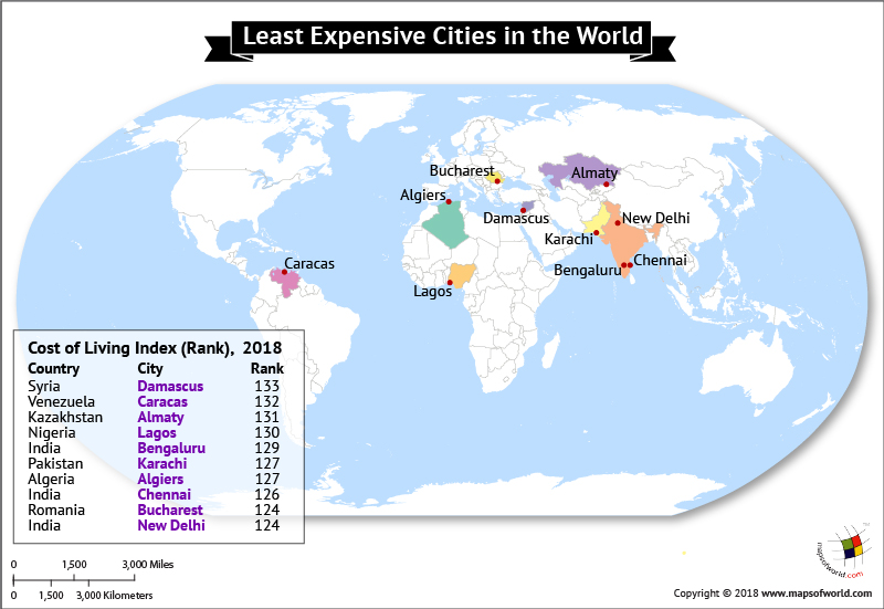 World Map highlighting Ten Least Expensive Cities