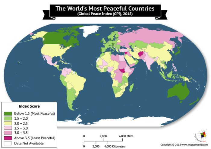 World Map depicting the most peaceful countries