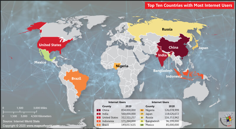 World Map Highlighting Top 10 Countries with the Most Number of Internet Users