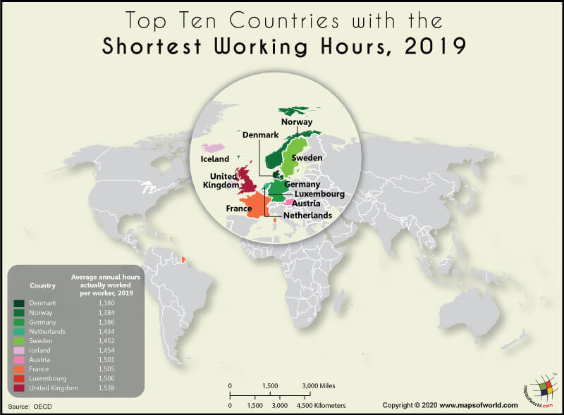 World Map Highlighting the Top 10 Countries with the Shortest Working Hours