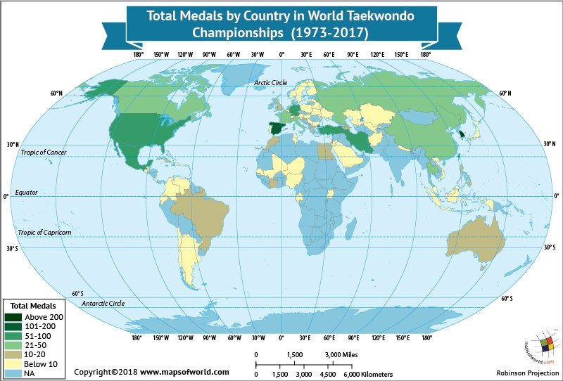 World Map highlighting countries which won Taekwondo Championship