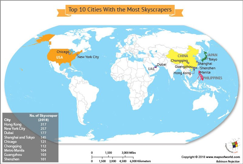 World map highlighting top 10 cities with most skyscrapers