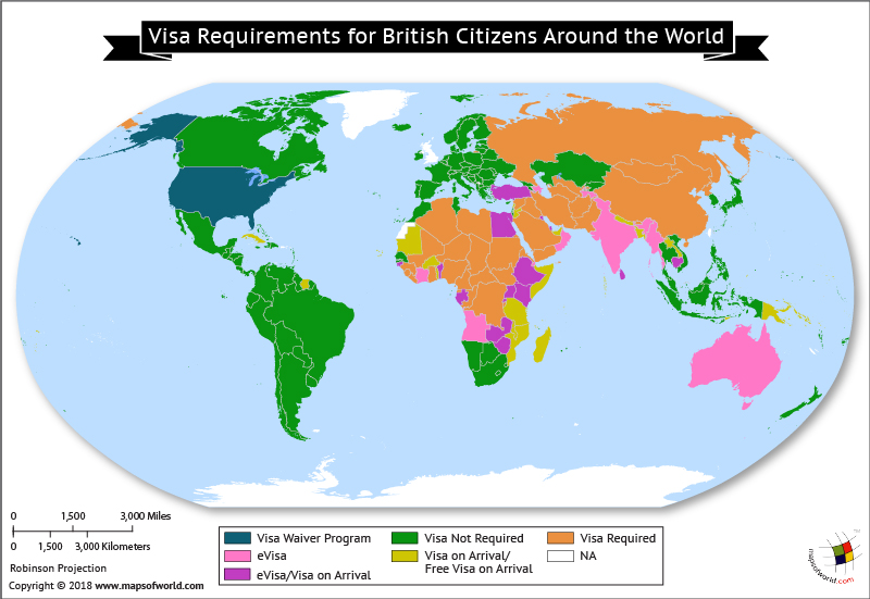World Map depicting British Visa Requirements around the world