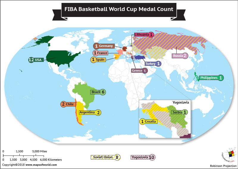 World Map highlighting winners of FIBA Basketball World Cup