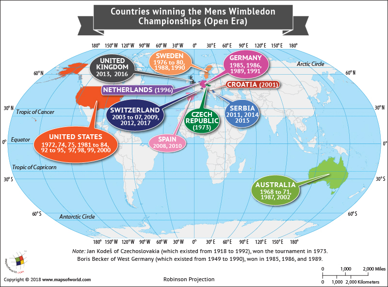 World Map highlighting countries which won in Men's Wimbledon