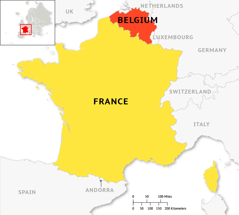 Infographic depicting France and Belgium