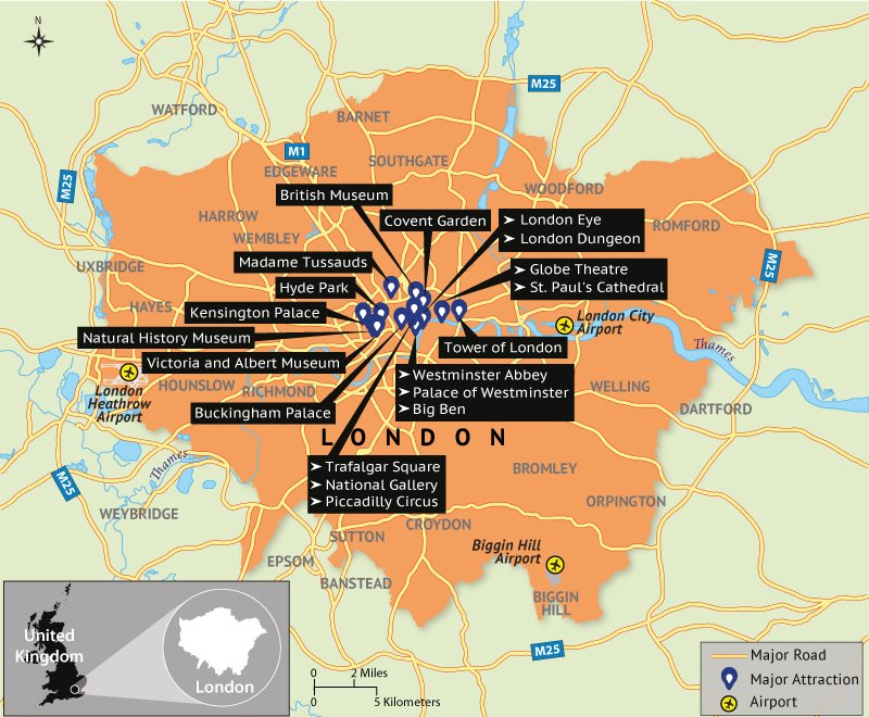 Attractions London Map.Map Depicting London Tourist Attractions Answers