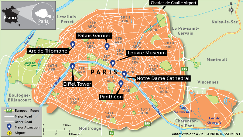 Map Depicting Paris Tourist Attractions - Answers