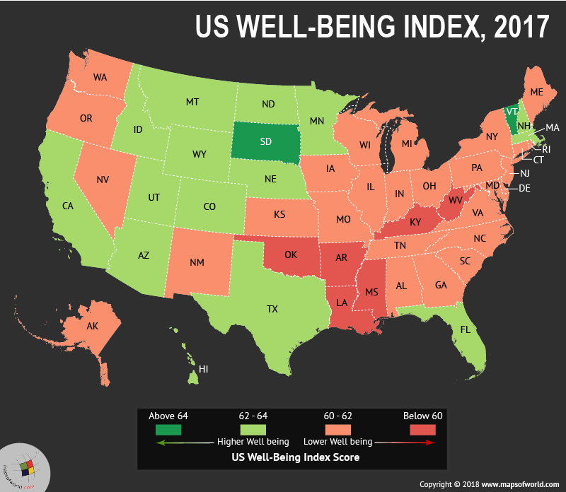 US map depicting Well-Being Score in states
