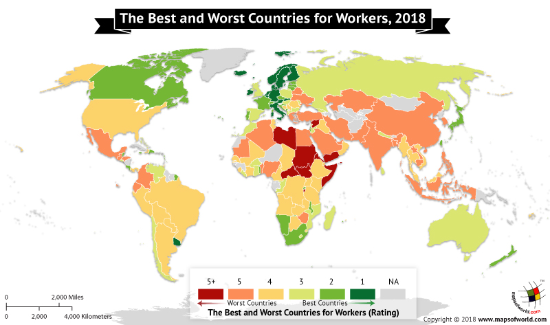 World map depicting workers' rights in countries