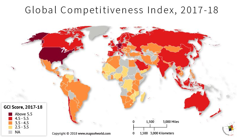 World Map depicting global competitiveness index