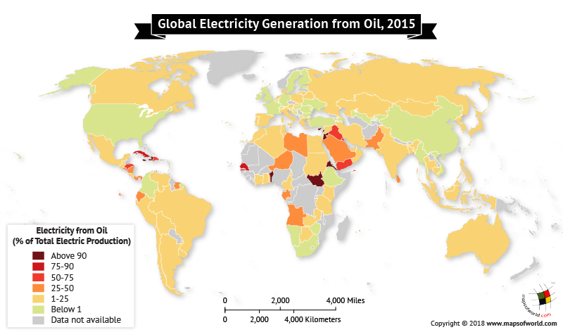 World map depicting countries where electricity generated by oil
