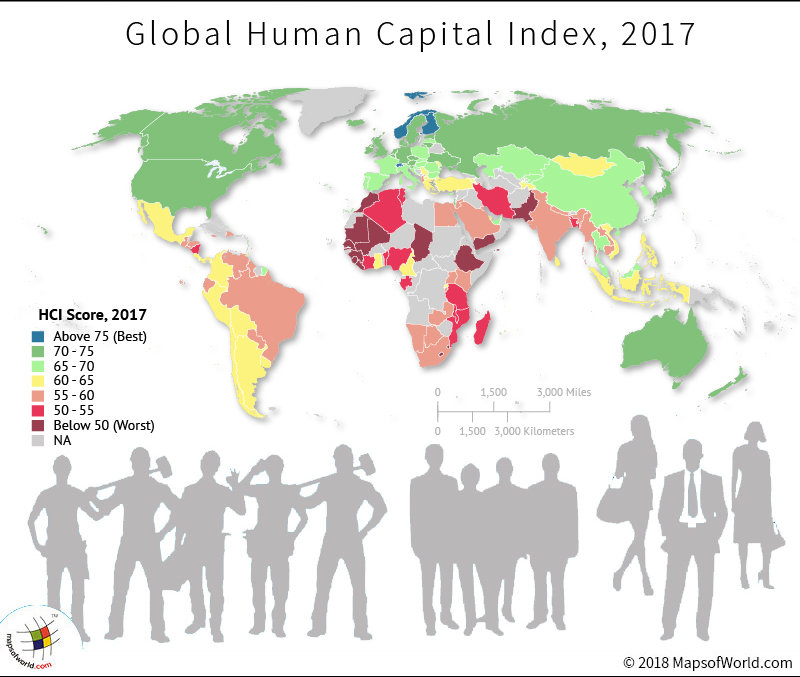World map depicting scores of Human Capital Index