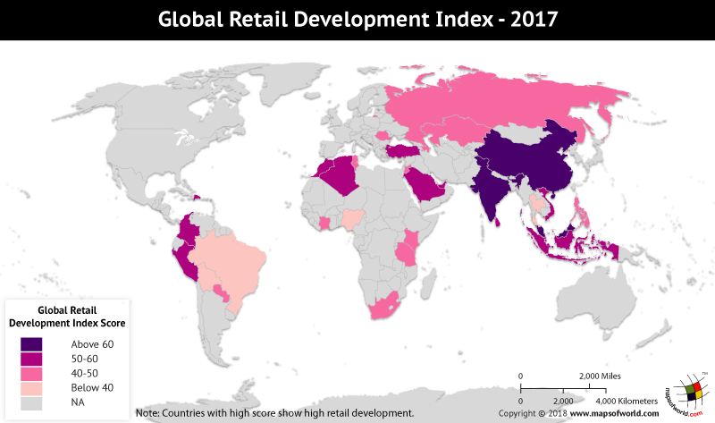 World Map depicting Global Retail Development scores