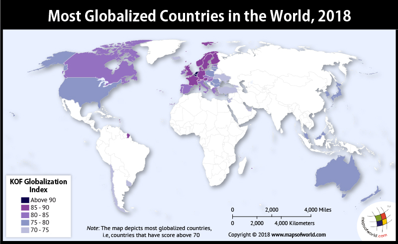 World Map depicting most Globalized Countries
