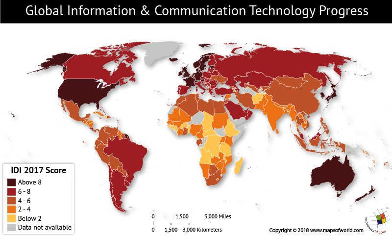 World map depicting Global ICT Development