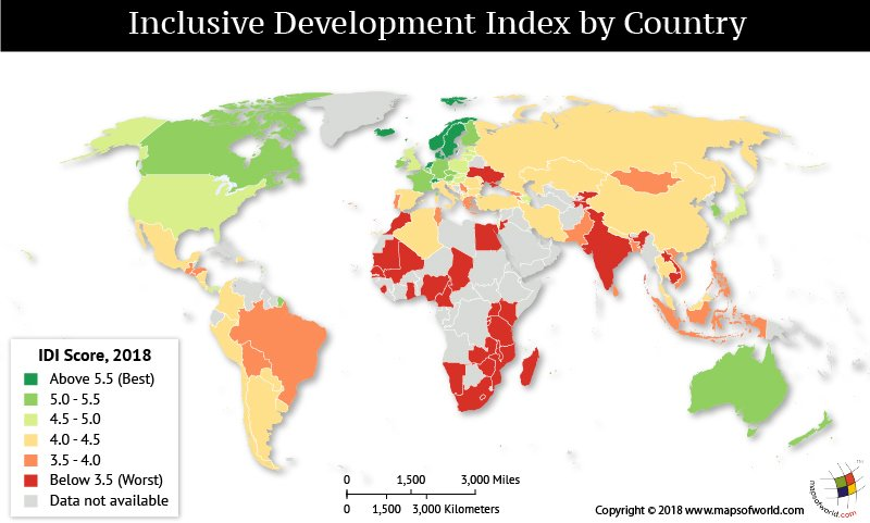 World Map elaborating the inclusive development scores
