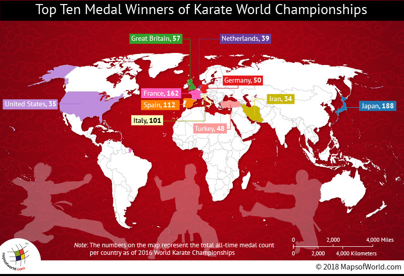 World map depicting Karate Champions