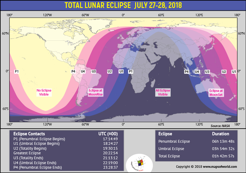 World map highlighting places which will witness Lunar Eclipse