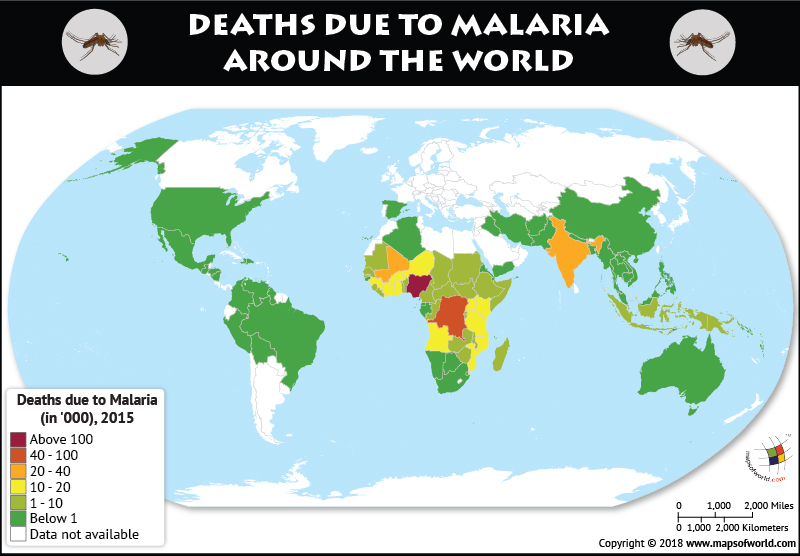 how many people died from malaria in each country answers