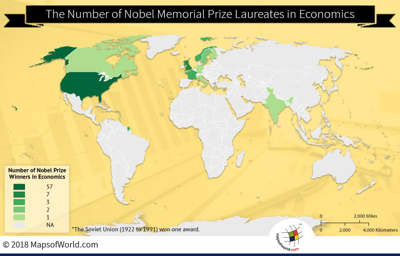 World map depicting Nobel Prize winners in Economics