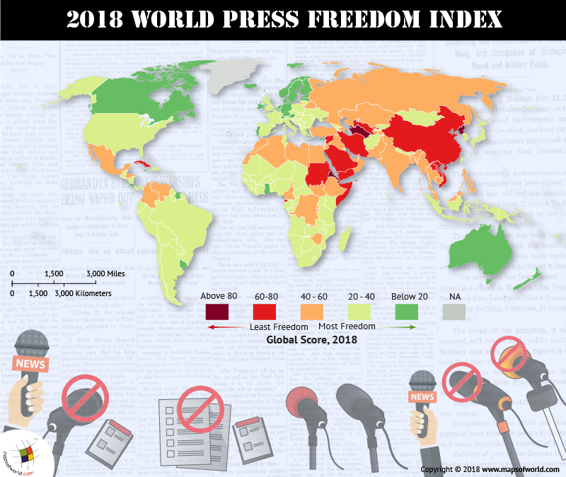 World map depicting freedom of press
