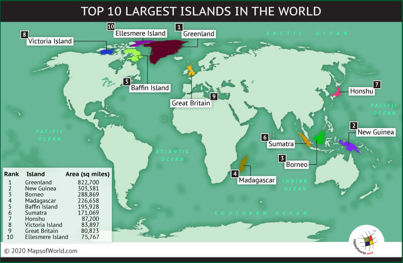 World Map Highlighting the Top 10 Largest Islands