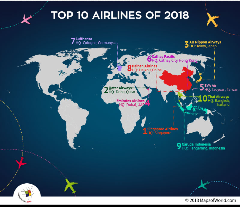 What are the worlds top 10 airlines of 2018 answers world map depicting headquarters of top ten airlines gumiabroncs Choice Image