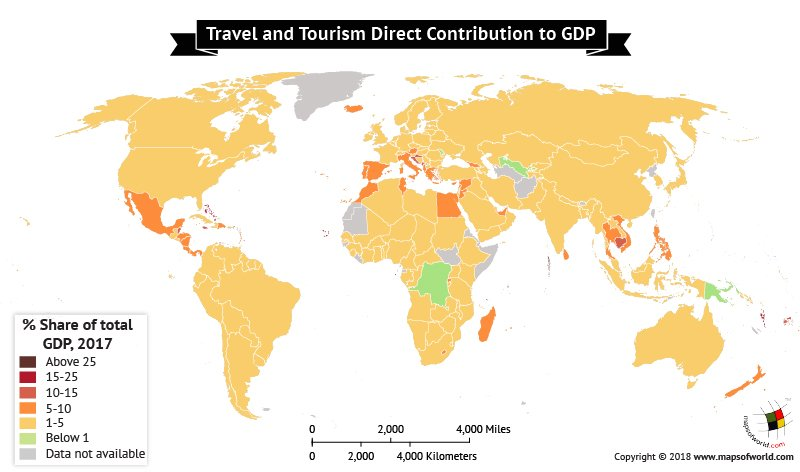 World Map depicting Travel and Tourism's direct contribution to GDP