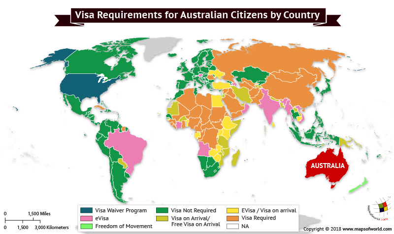 World Map depicting Visa Requirements of Australians