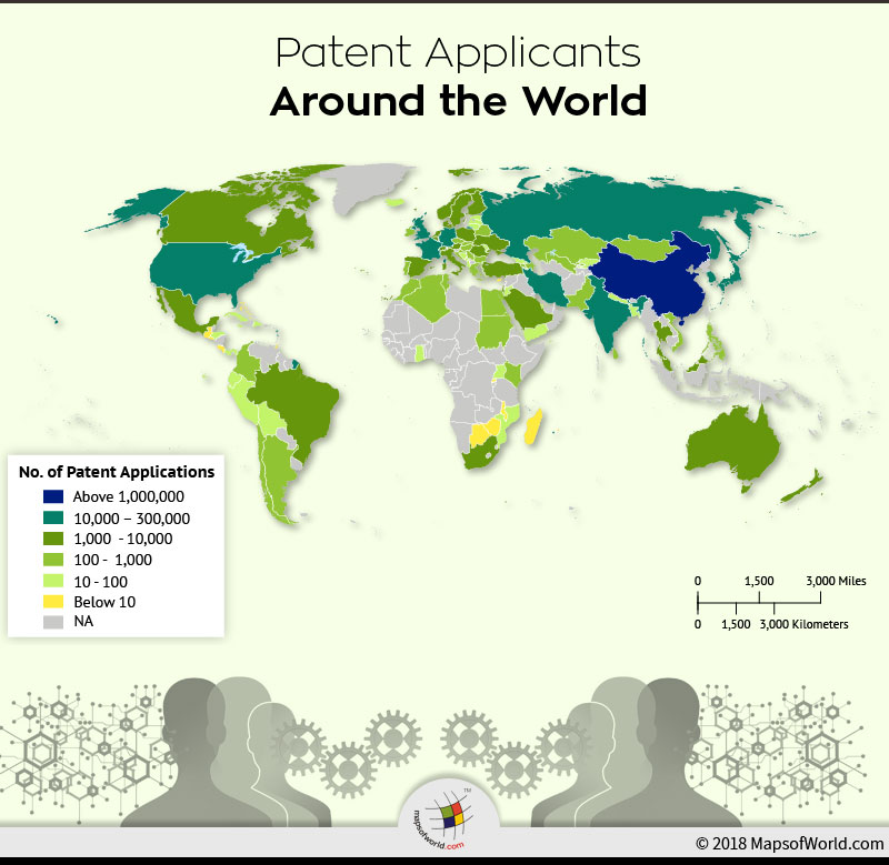 World Map of patent applicants across the world.