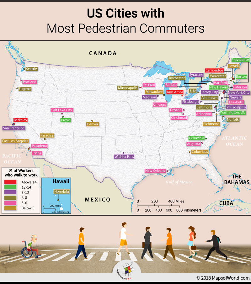 US map depicting cities with highest percentage of pedestrians