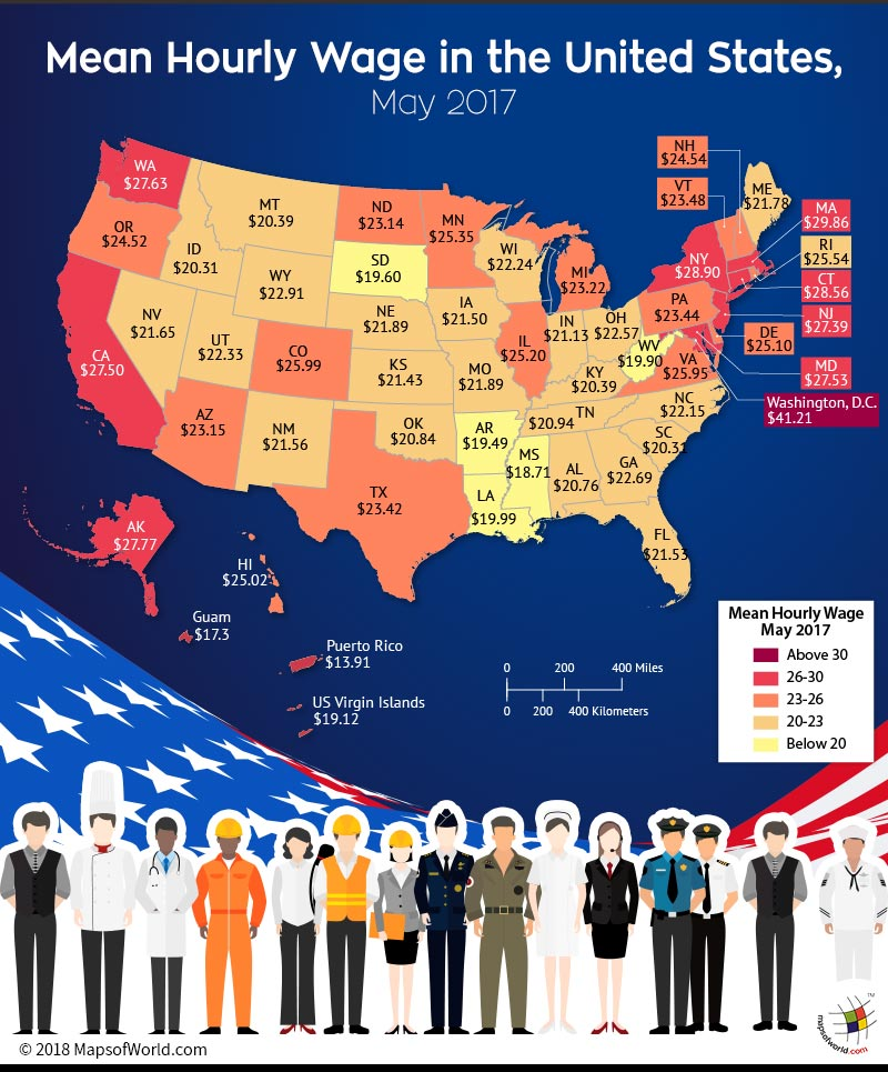 US Map depicting mean hourly wage in each state