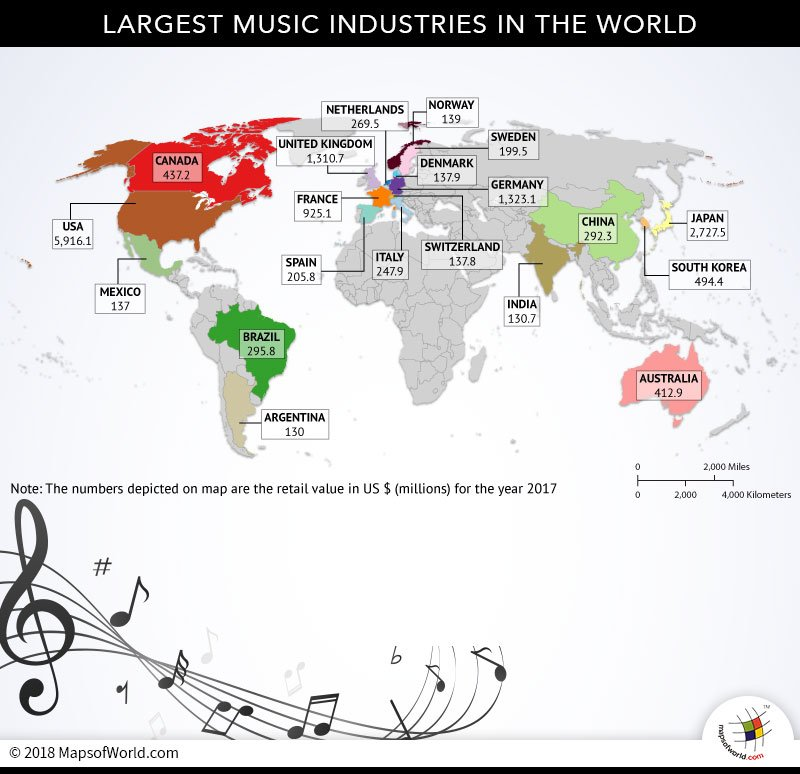 World Map depicting largest music industries
