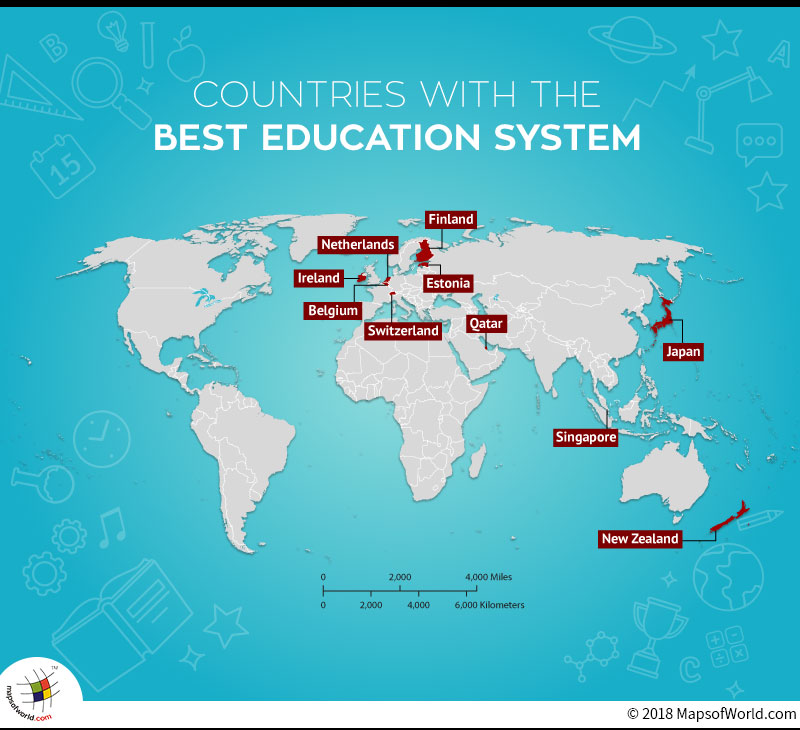 World Map depicting countries with Best Education Systems