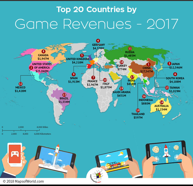World map depicting top 20 countries in gaming market