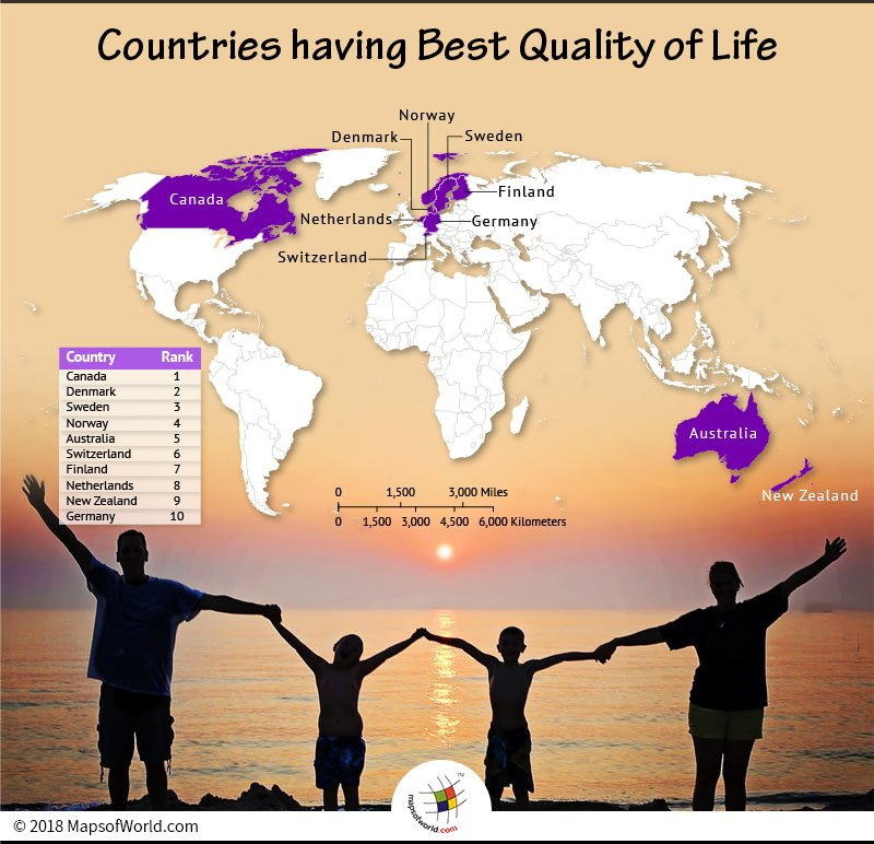 World Map depicting countries leading Quality Life