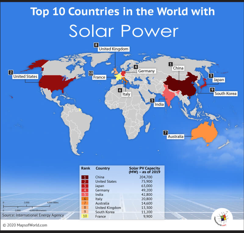 World Map Highlighting the Top 10 Countries with Solar Power